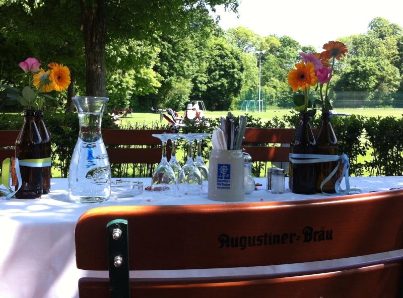 Feiern im Biergarten Augustiner Bayern LB Soprtarena München
