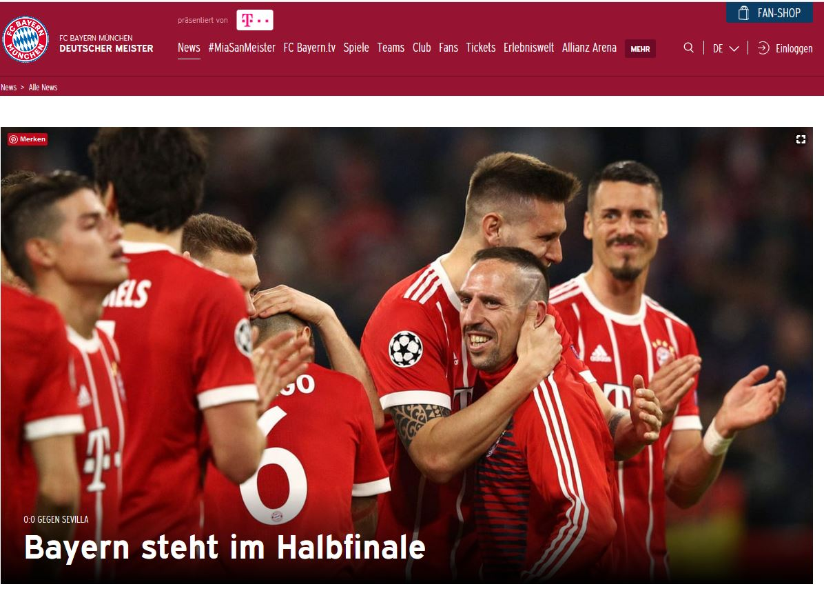 UEFA Champions League Bayern steht im Halbfinale