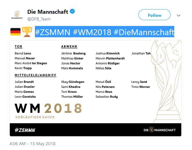 Die Mannschaft DFB Team Fussball WM 2018
