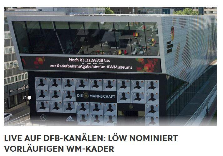 Nominierung Fussball WM Kader 2018